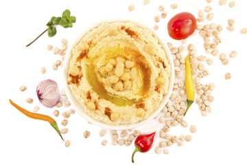 Hummus with mint and the fresh vegetables