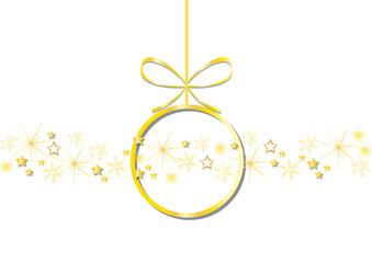 goldene kugel mit schneeflocken