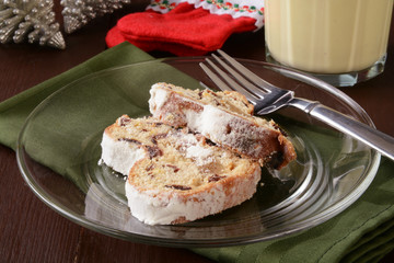 Christmas stollen and egg nog