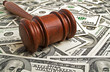 Wooden gavel and American dollars - 73908102