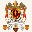 Heraldic design with coat of arms and banner