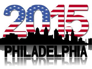 Philadelphia skyline 2015 flag text illustration