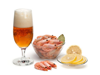 Beer and boiled shrimps