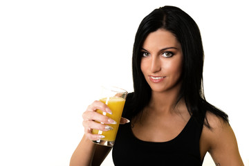 woman drink orange juice