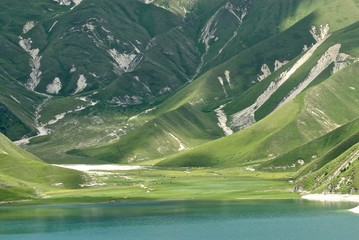 Shore of mountain lake in Chechnya