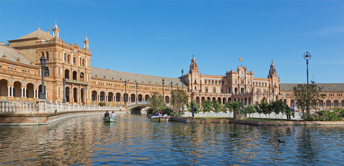 Seville - The Plaza de Espana square and canal