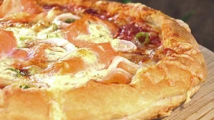 Rotating Salmon Pizza (loopable)