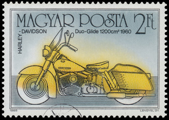 Stamp printed in Hungary shows Harley-Davidson Duo-Glide