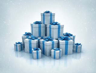 Stack of blue gift boxes high quality 3d render