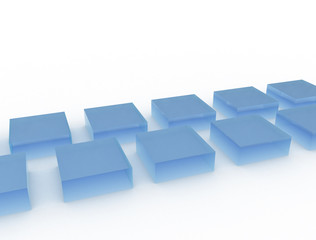 Blue glass cubes on white background