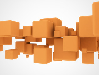 Orange 3d cubes
