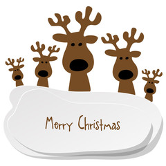 Merry Christmas Postkarte Rentier Schnee Braun