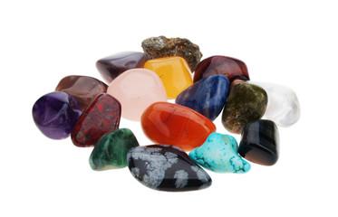 Color spectrum of semiprecious gemstones  on white background
