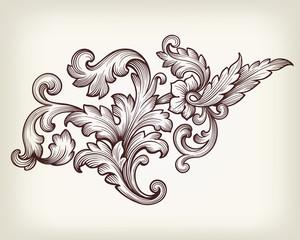Vintage baroque floral scroll ornament vector