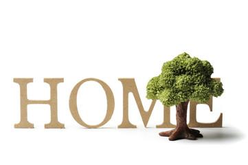 英語の文字と住宅のイメージ