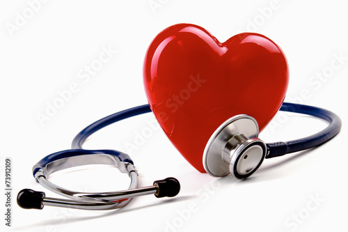 Stethoscope and heart, isolated on white background - 73912109