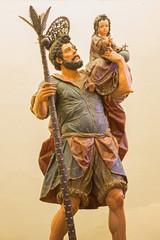 Seville - The carved statue of st. Christopher (Cristobal)