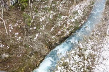 初冬の美瑛川の流れ