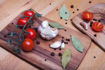 scattered spices on  cutting board