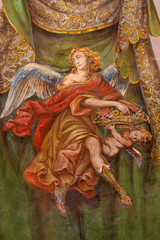 Seville - fresco of angel with roses in Venerables church
