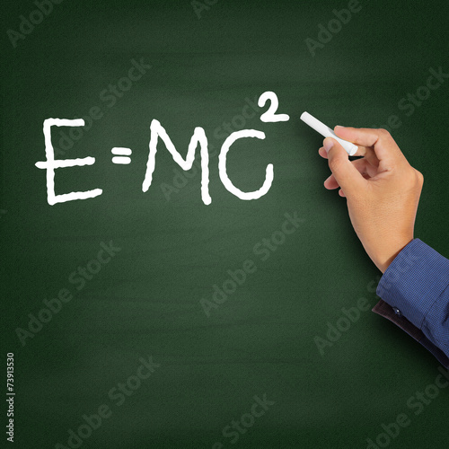 Hand writing theory of relativity (E=mc2) плакат