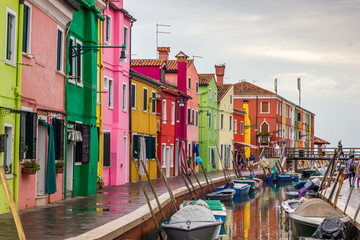 Fishermen colorful houses in Burano, Italy