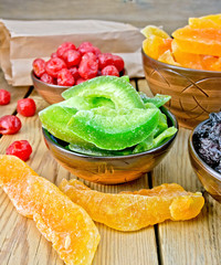 Candied pomelo and fruit in bowl on board