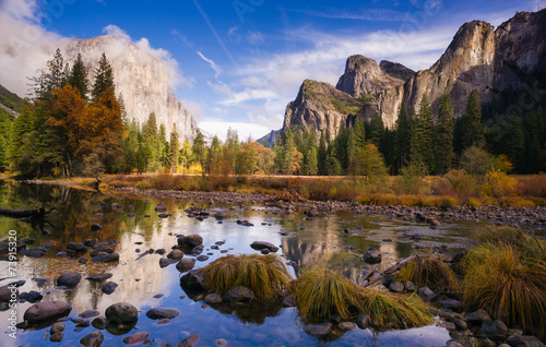 Poster El Capitan Bridal Viel Falls Merced River Yosemite National Park