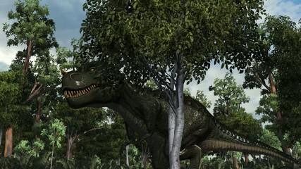 T-Rex Tyrannosaurus Dinosaur walks  in a prehistoric scene
