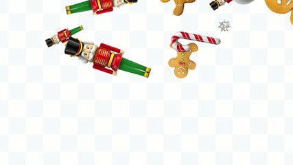 Christmas  animation. Ornaments on gift wrap background.