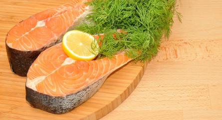 Fresh Uncooked Salmon Steaks