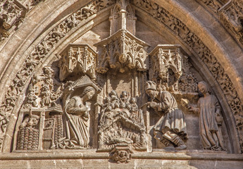 Seville - The Nativity scene on the portal of the Cathedral