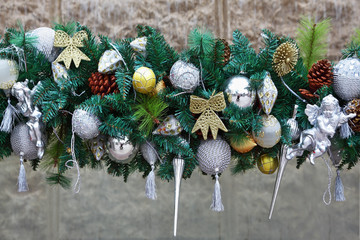 Gorgeous silver garland of Christmas decorations