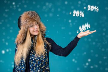 Winter sale concept. Discounts 50%, 30%, 20%.