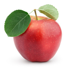 Ripe red apple with green leaves isolated on white