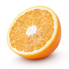 Half orange citrus fruit isolated on white