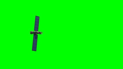 satellite in fly - green screen