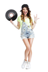 Excited Woman with Vinyl Record Showing Victory Sign