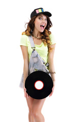 Jubilant Woman with Vinyl Record Isolated on White Background