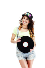 Young Musician in Baseball Hat with Retro Vinyl DIsc