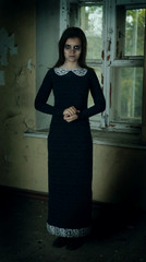 Horror Scene of with scary woman in long dress