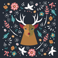 Greeting card design with deer and flowers