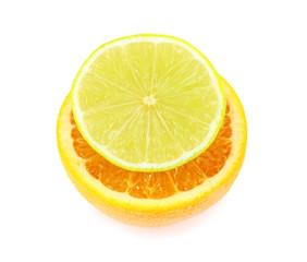 Fresh cut lime and orange isolated on white