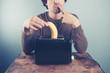 Man thinking about toasting banana