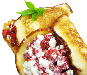 sweet pancakes with wild strawberry fruit jelly