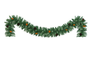 Christmas tinsel with pine cones and baubles isolated
