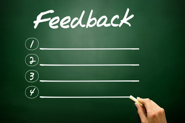 Hand drawn blank Feedback list business concept on blackboard