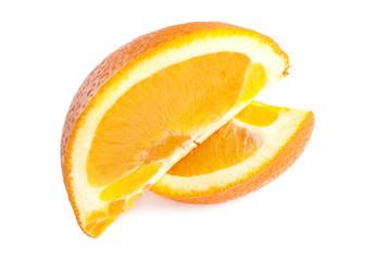 Orange fruit slices isolated on white background