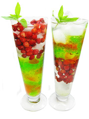 fruit cocktail smoothie with wild starwberry