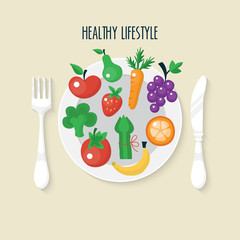 Vegetables and fruits flat icons on plate. Healthy lifestyle